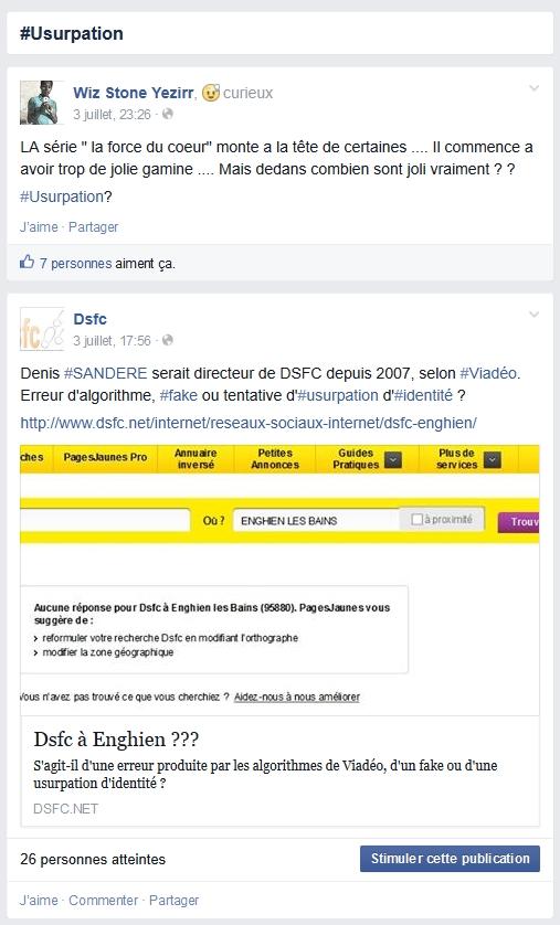 La page Facebook du hashtag #usurpation dans Facebook