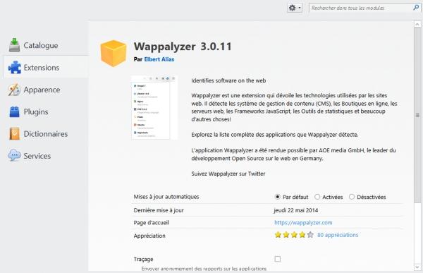 Désactiver le traçage dans Wappalyzer
