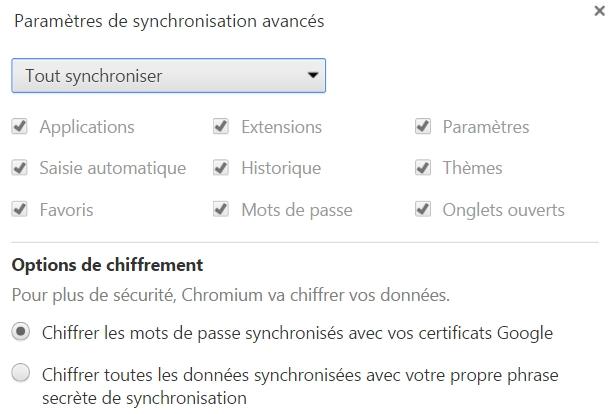 Les paramètres de synchronisation avancés de Chromium