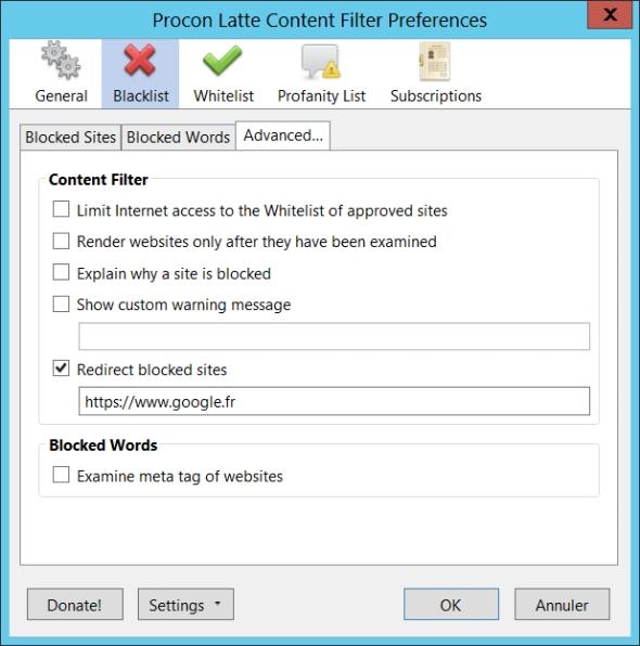 Procon Latte Content Filter