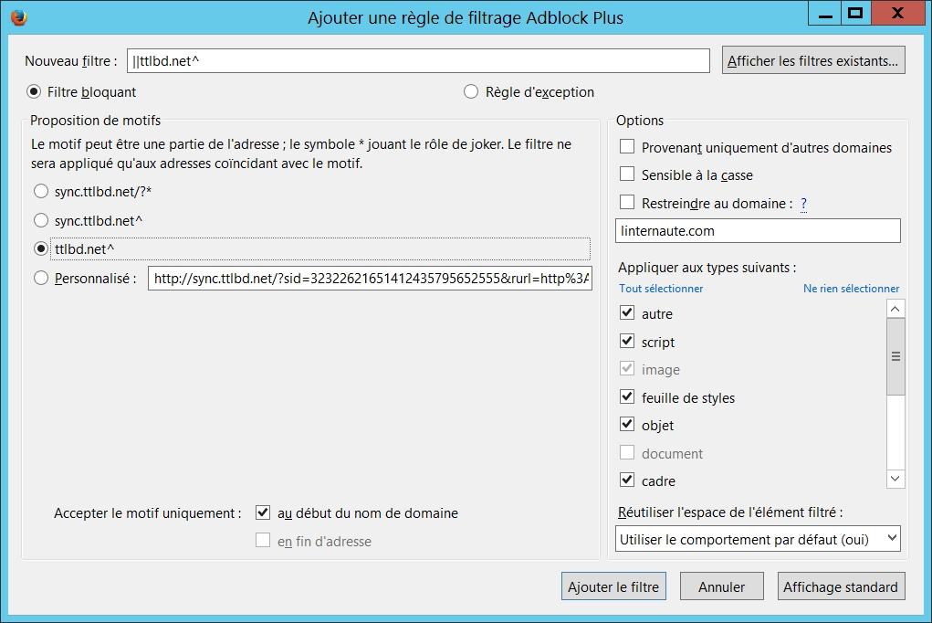 Ajouter une nouvelle règle de filtrage dans AdBlock Plus