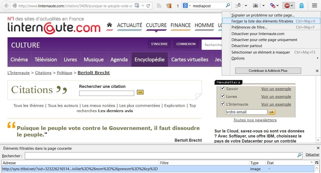 Le blocage de sites dans Adblock Plus