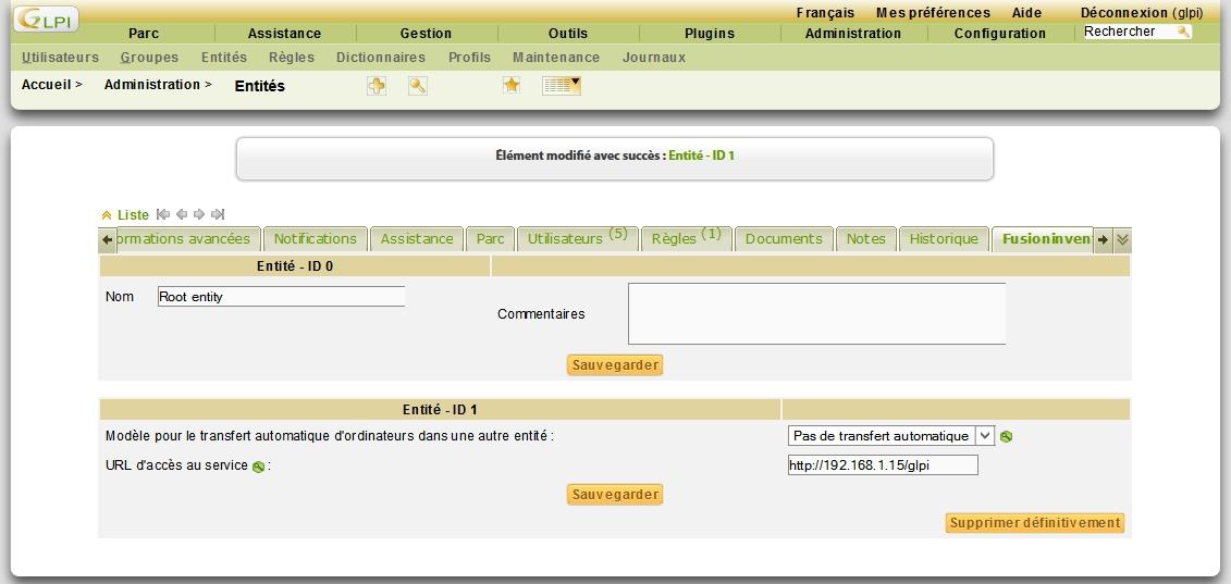 Dans GLPI, Administration -> Entités, configurer l'url du service dans l'onglet FusionInventory