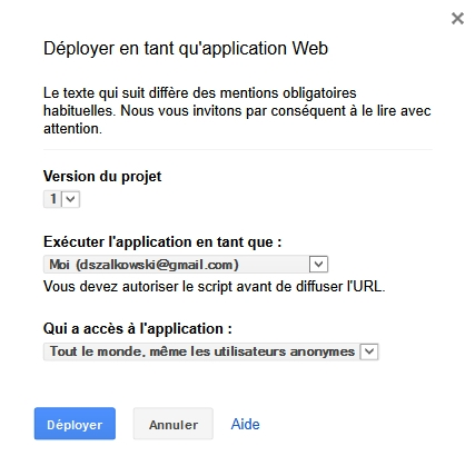 Déployer le script Labnol en tant qu'application Web