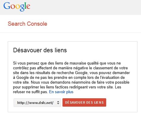 Désaveu de liens dans Google Webmaster Tools