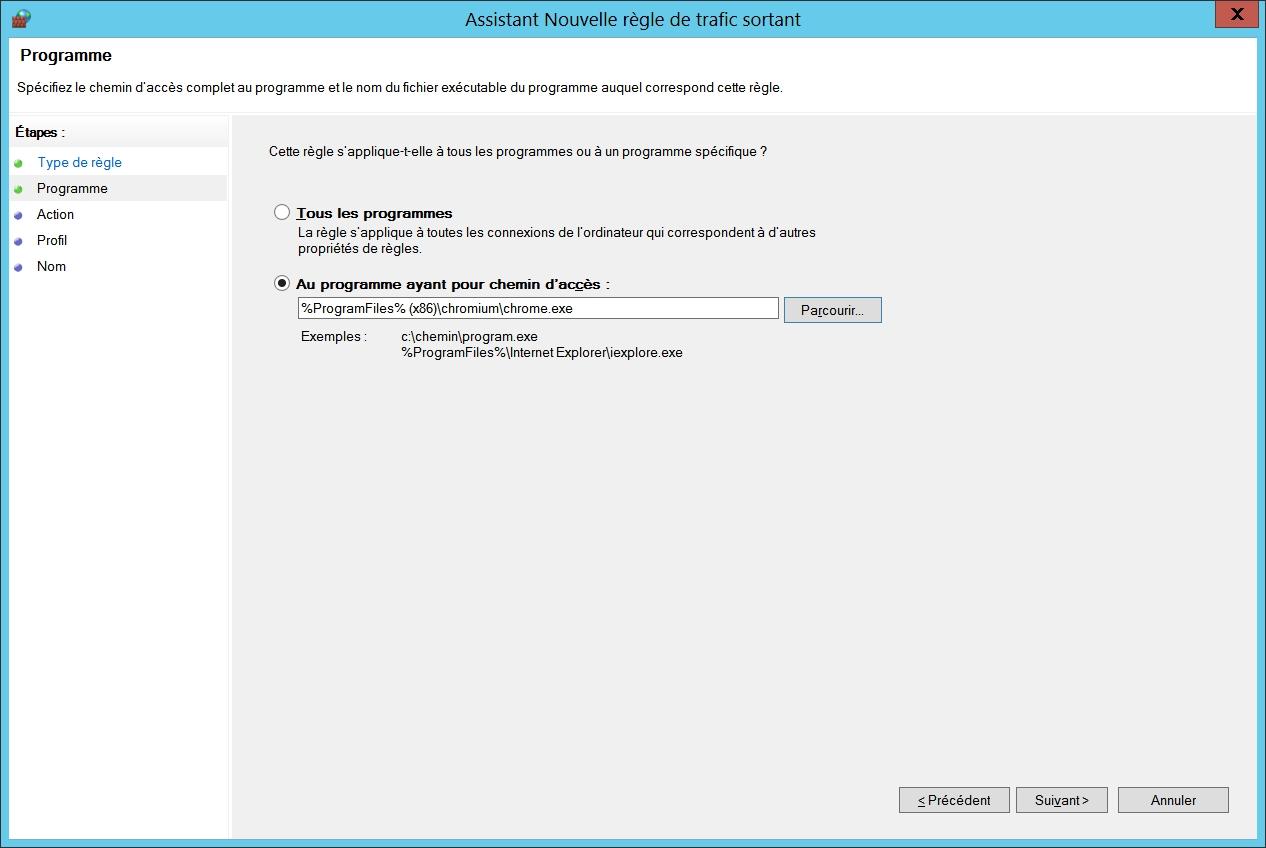 Pare-feu Windows : chemin d'accès du programme