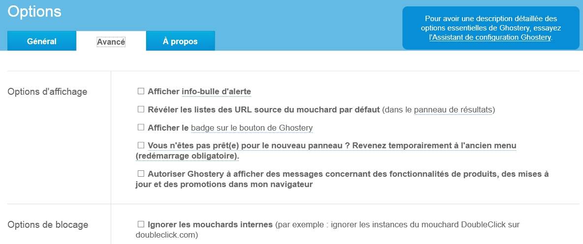 ghostery-options-avance-blocage-ignorer-mouchards-internes