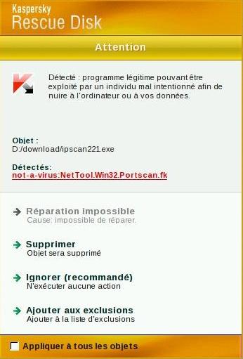 ipscan, un faux positif signé Kaspersky