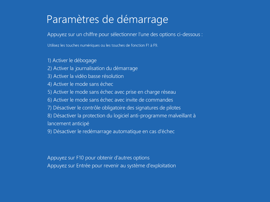 Démarrer Windows 10 en mode sans échec - Etape 6