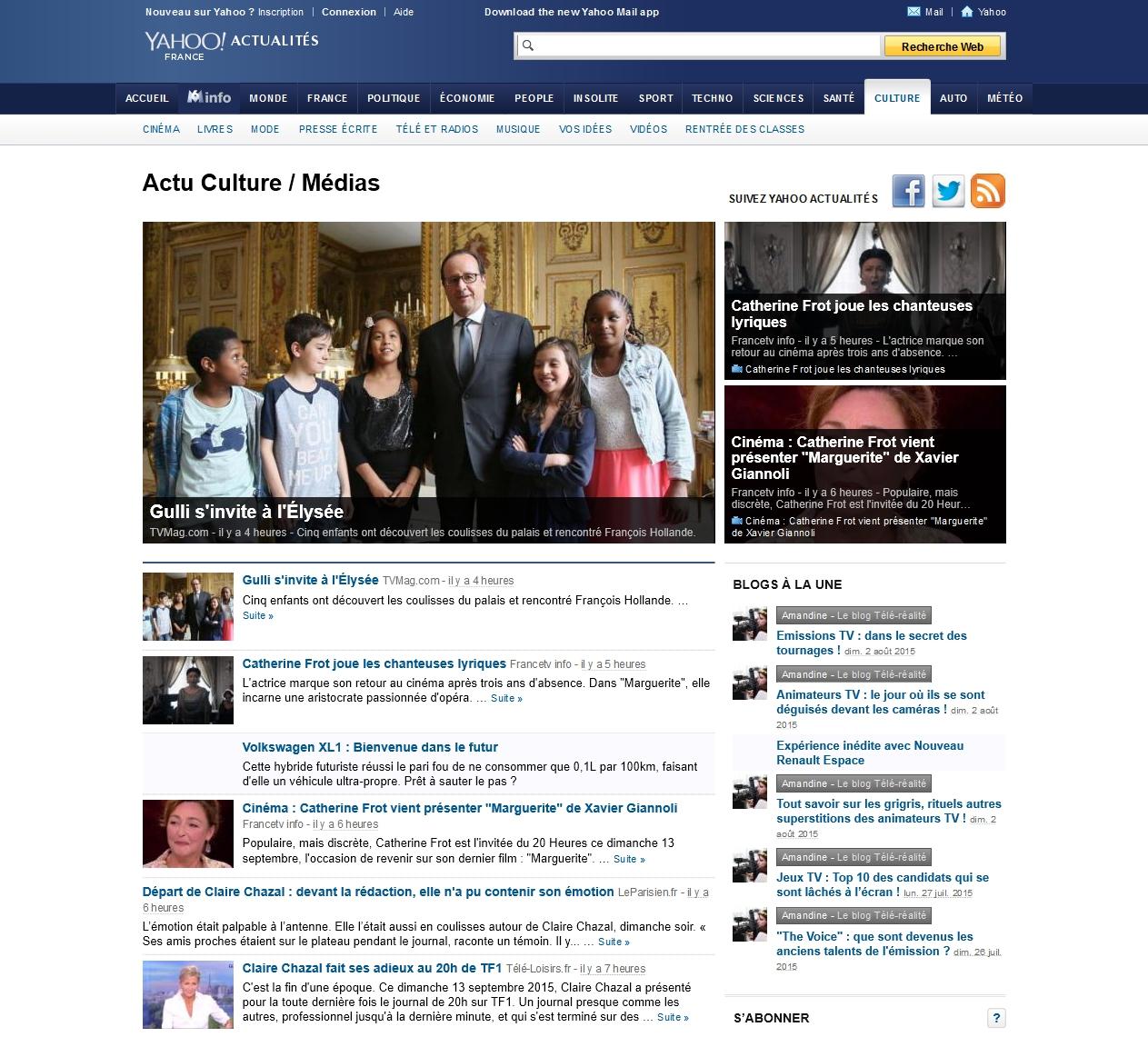 La page Culture/Médias de Yahoo! Actualités