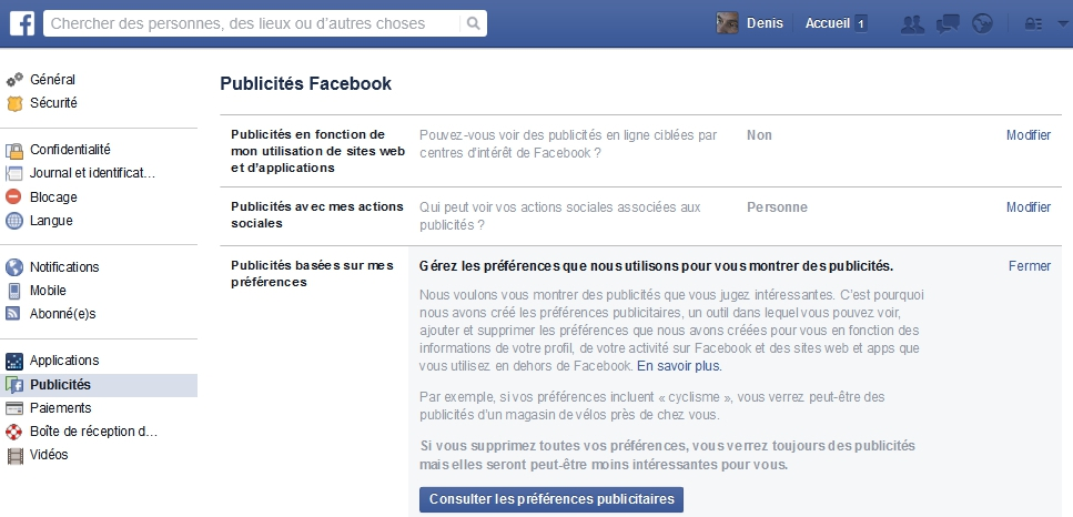 Consulter vos préférences publicitaires dans Facebook