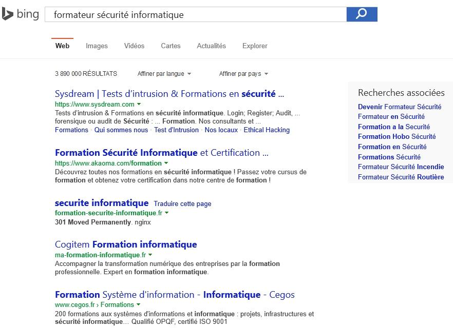 Recherche dans Bing sur Formateur Sécurité Informatique