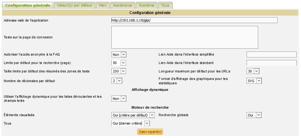 Adresse web de l'application GLPI dans la configuration générale