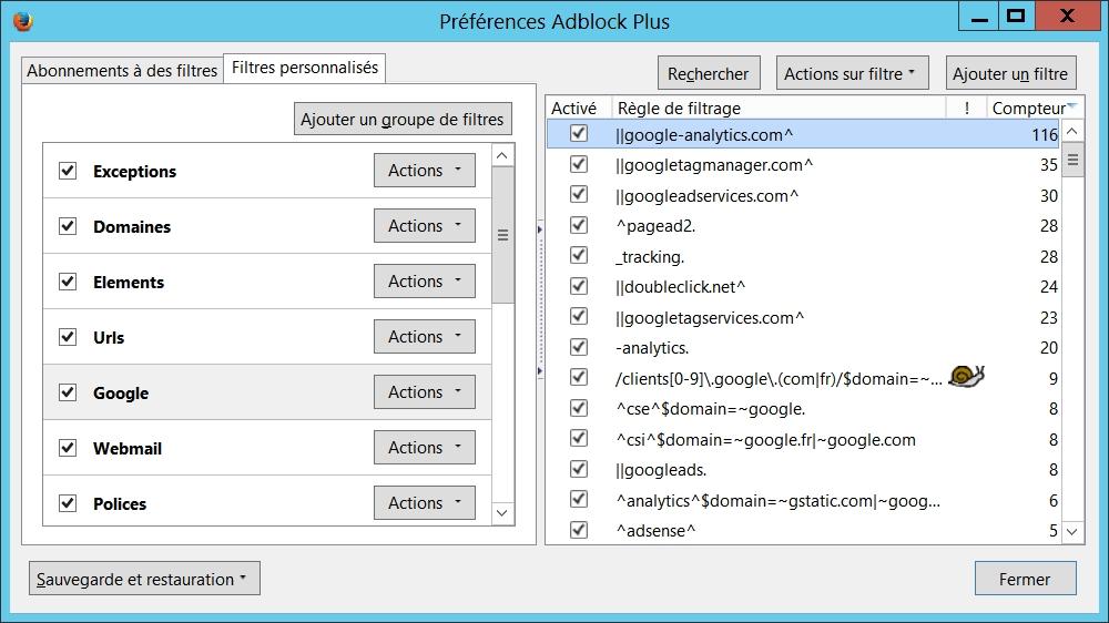 Filtres personnalisés AdBlock Plus