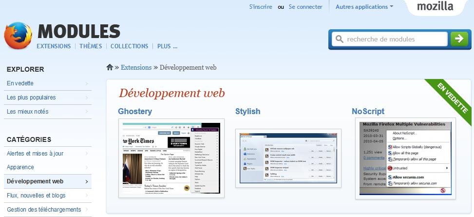 Télécharger les addons Firefox pour le développement Web