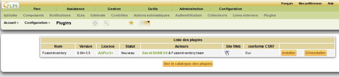 Installer le plugin FusionInventory dans GLPI sous Debian Jessie