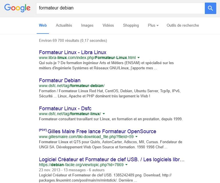 Recherche dans Google sur Formateur Debian
