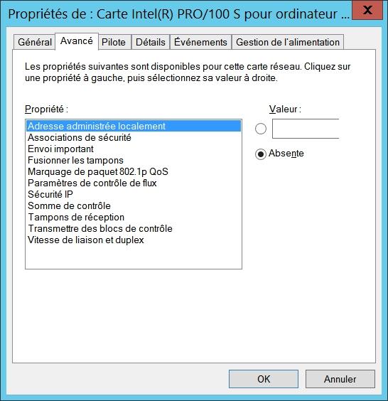 Configurer les propriétés avancées de la carte réseau