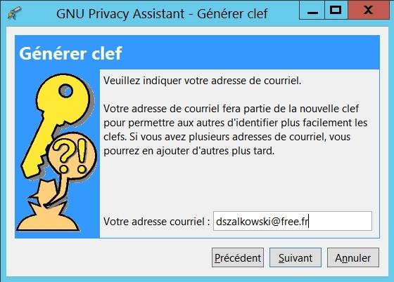 Gnu Privacy Assistant - générer votre jeu de clefs : votre adresse couriel