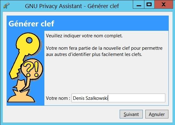 Gnu Privacy Assistant - générer votre jeu de clefs : votre nom