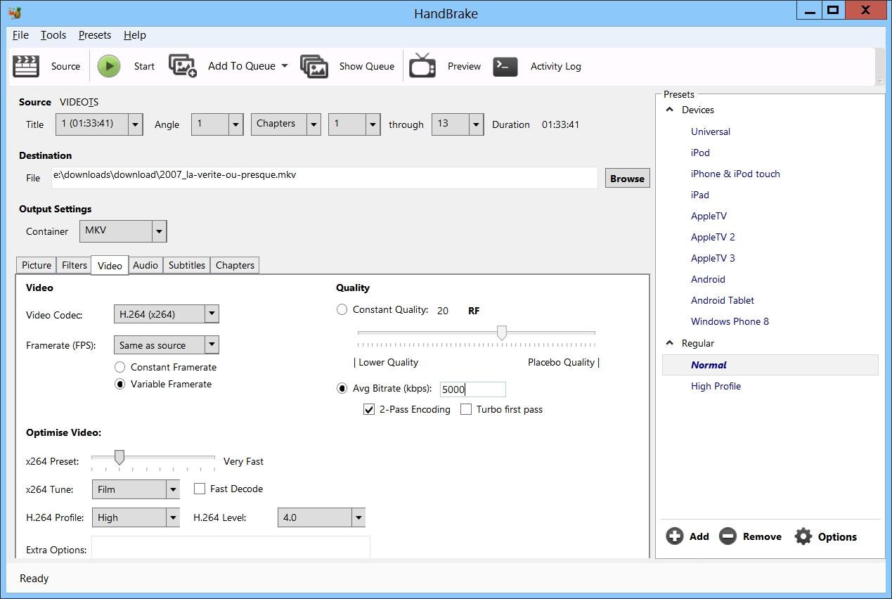 Convertir vos DVD en fichiers MKV avec HandBrake