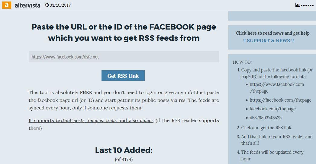 Altervista > Facebook 2 RSS