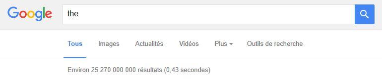 """Requête dans Google Search sur le mot """"the"""""""