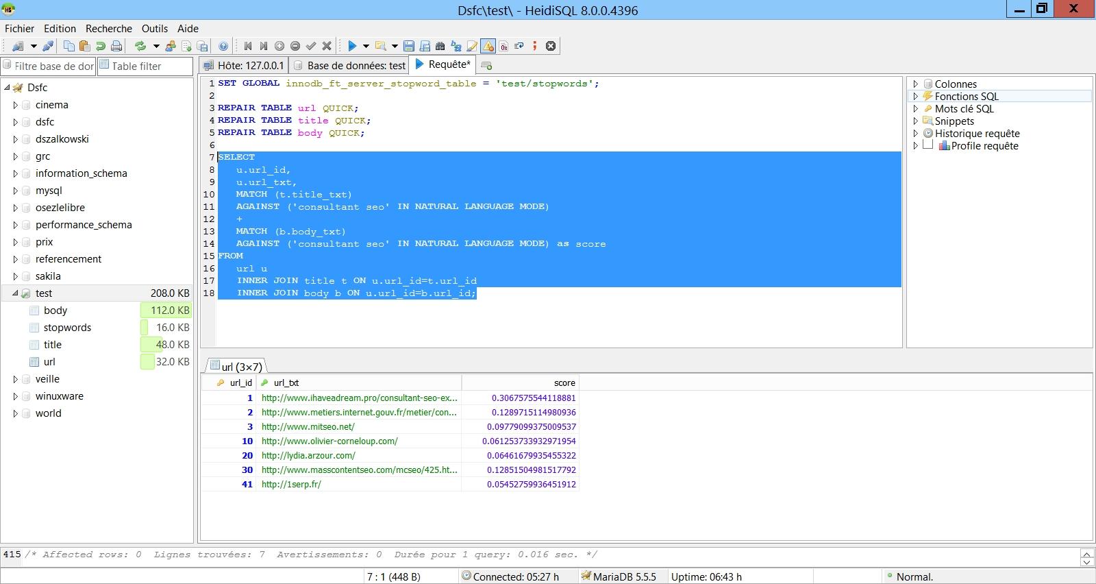 SEO : Google utilise les index FULL TEXT de MySQL... La preuve !