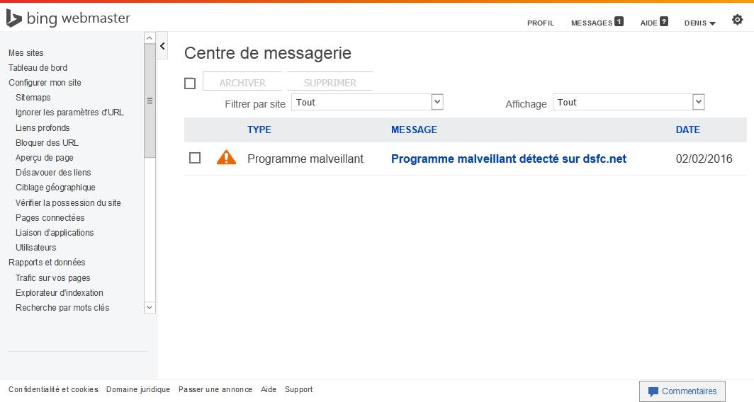 Un programme malveillant signalé dans les outils Bing pour webmaster