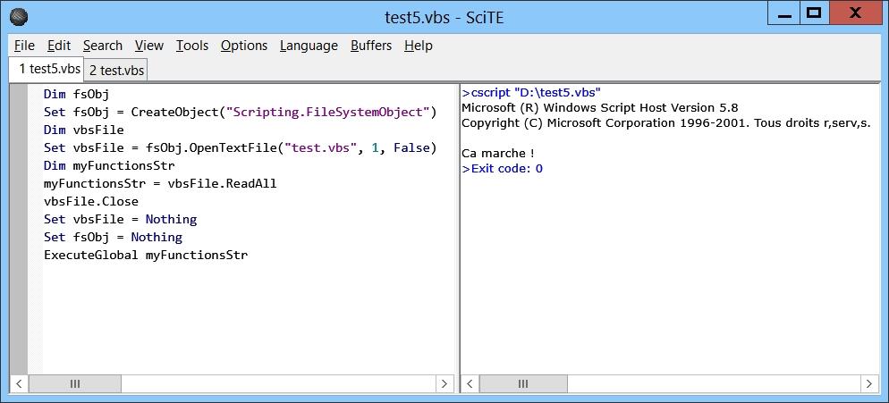 SciTE, éditeur Open Source VbScript