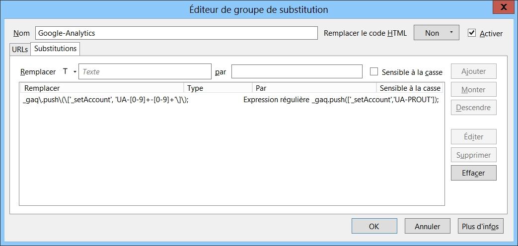 FoxReplace pour enlever le tracking des scripts Google Analytics