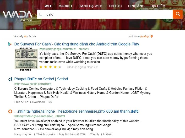 Le moteur de recherche vietnamien Wada