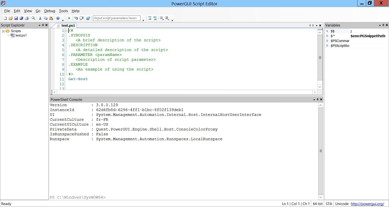 Quest PowerGUI, un éditeur pour scripter en PowerShell