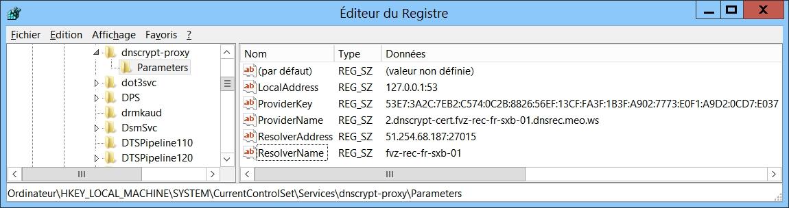 Paramétrage manuel du service DnsCrypt