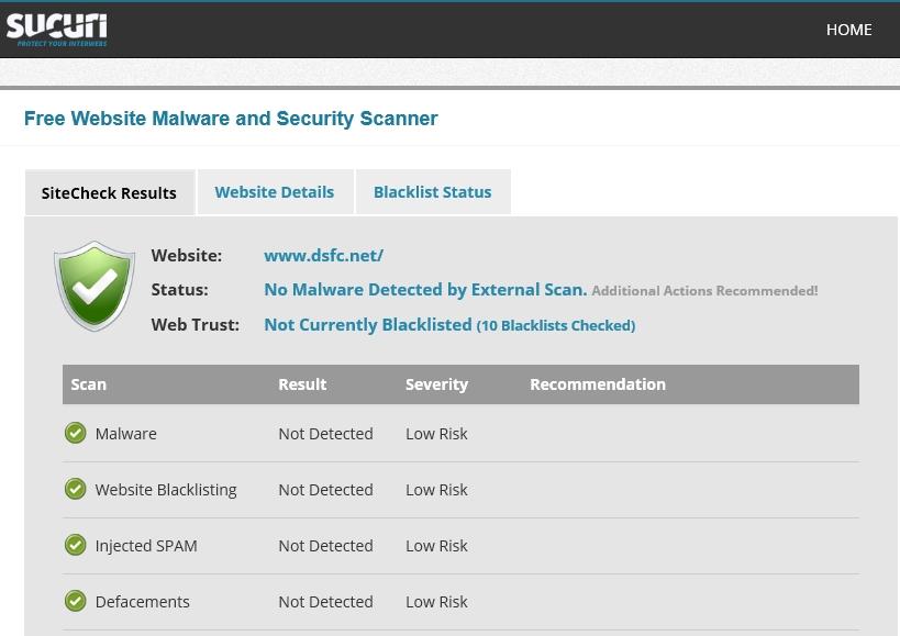 Sucuri : Sitecheck results