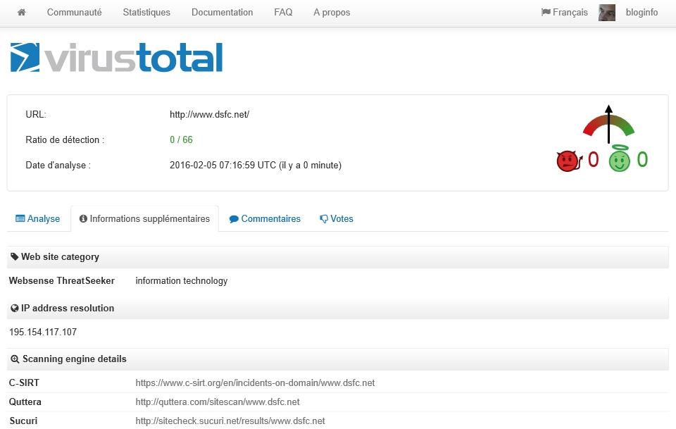 Informations supplémentaires dans Virustotal