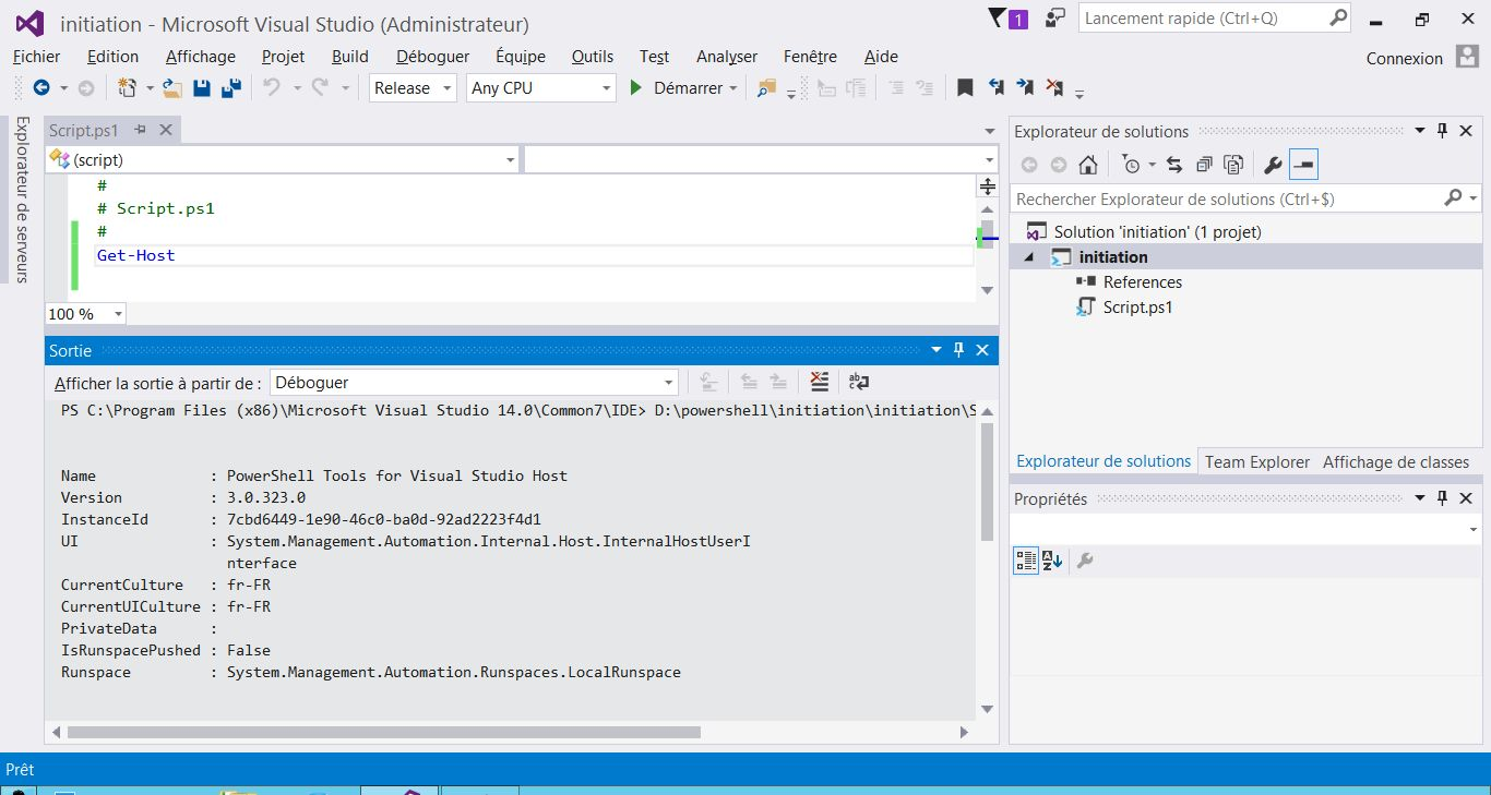 Exécution de scripts PowerShell dans Visual Studio Community Edition 2015