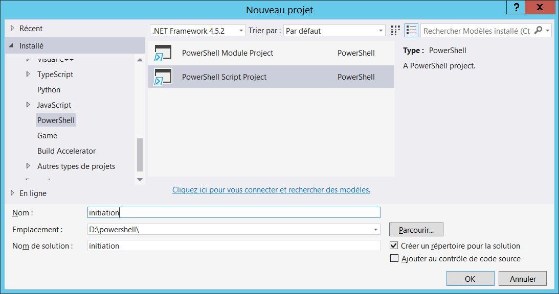 Créer un projet PowerShell sous Visual Studio Community Studio 2015