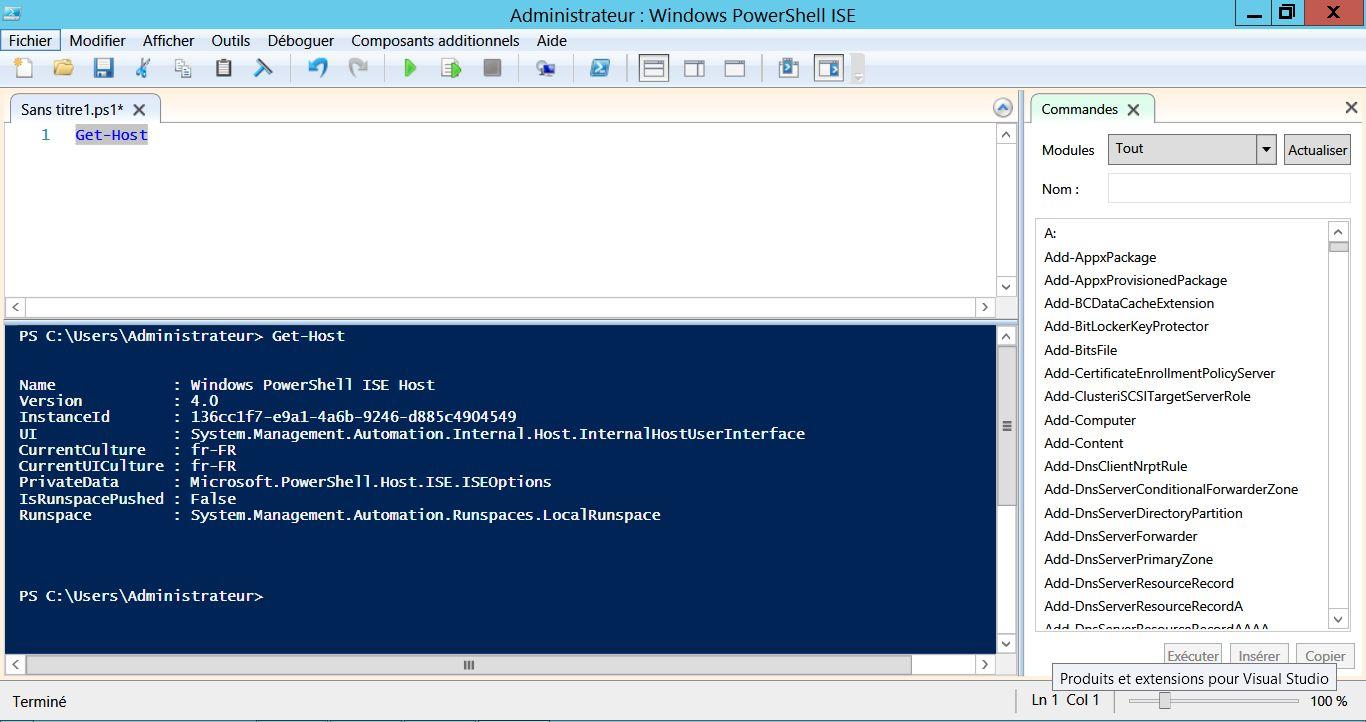 Windows PowerShell ISE, l'éditeur intégré à Windows pour faire du PowerShell