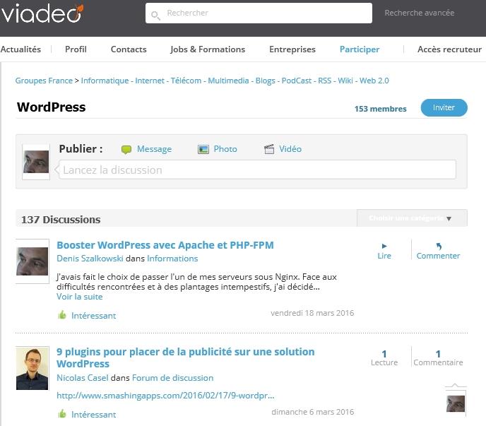 Mon groupe WordPress Viadeo