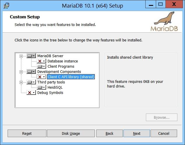 MariaDB Setup - Custom Setup