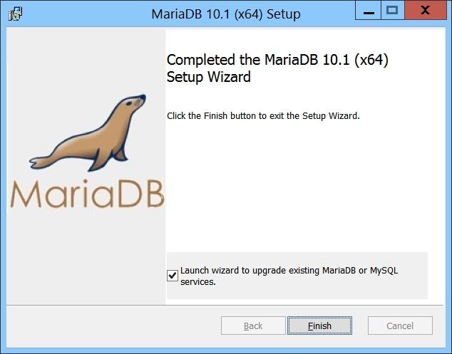 MariaDB Setup - Launch wizard to upgrade existing MariaDB or MySQL Services