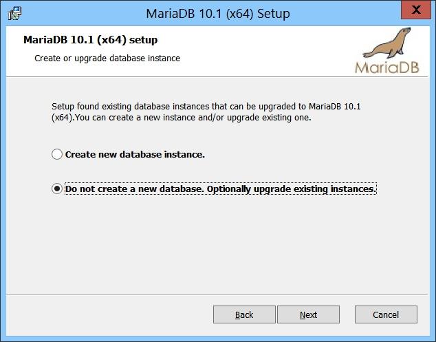 MariaDB Setup - Do not create a new database. Optionnally upgrade existing instances