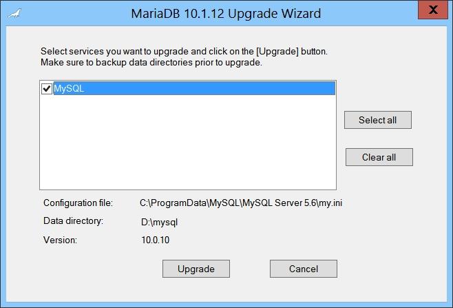 MariaDB Upgrade Wizard - MySQL