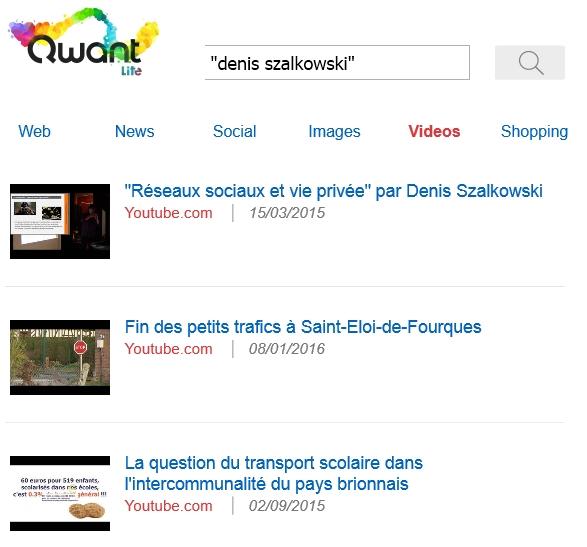 Recherche de vidéos dans Qwant Lite