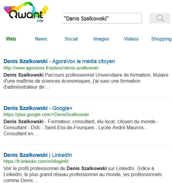 Recherche Web dans Qwant Lite