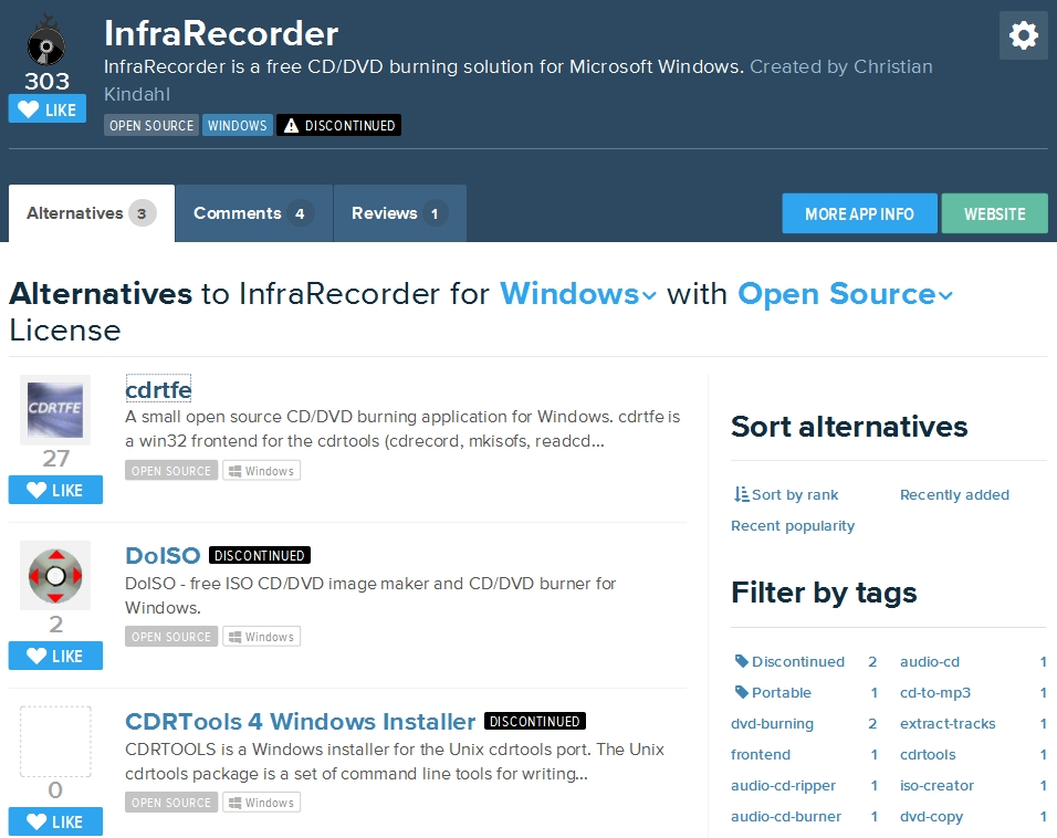Cdrtfe, alternative à InfraRecorder pour graver sous Windows