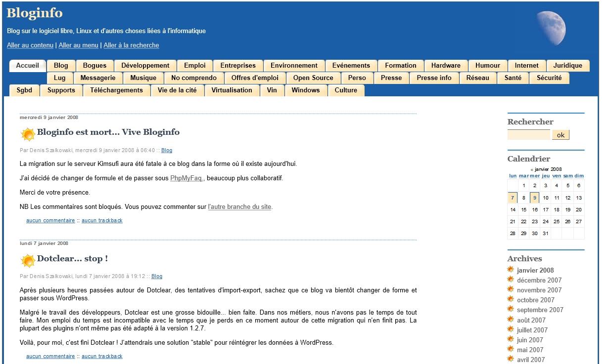 Bloginfo sur DotClear