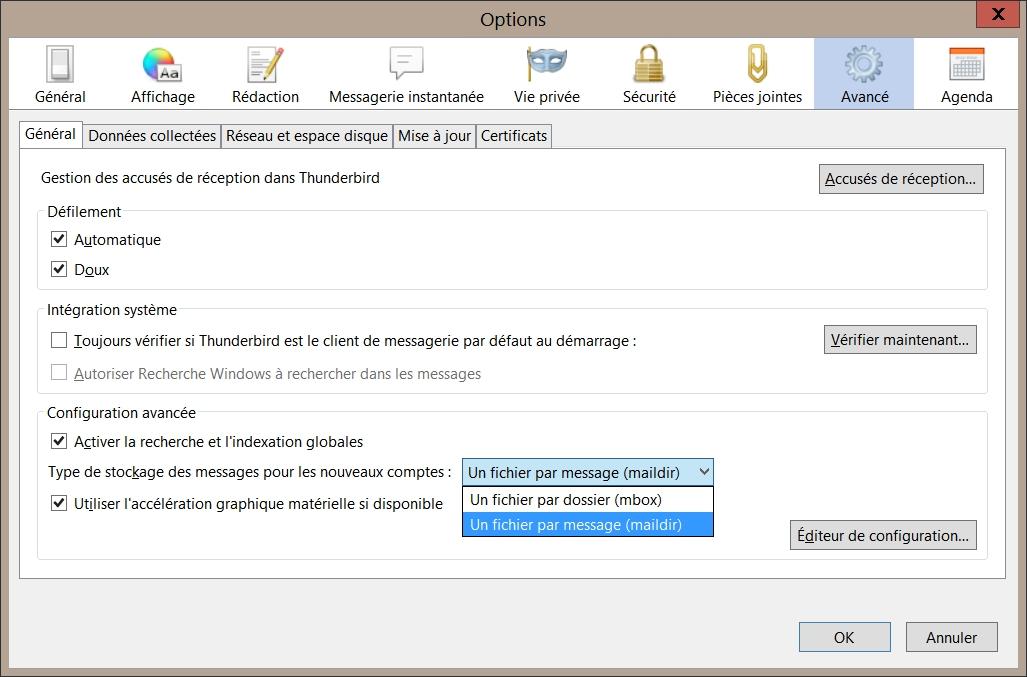Activer maildir dans Thunderbird