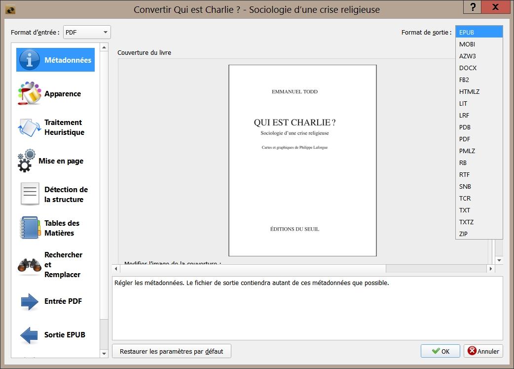 Calibre - Convertir un livre - Choix du format de sortie